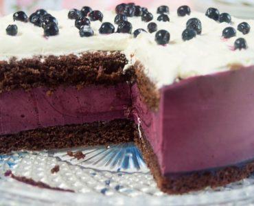 легкий торт з йогурту і чорниці