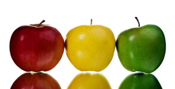 Названі відмінності в користі червоних, зелених і жовтих яблук